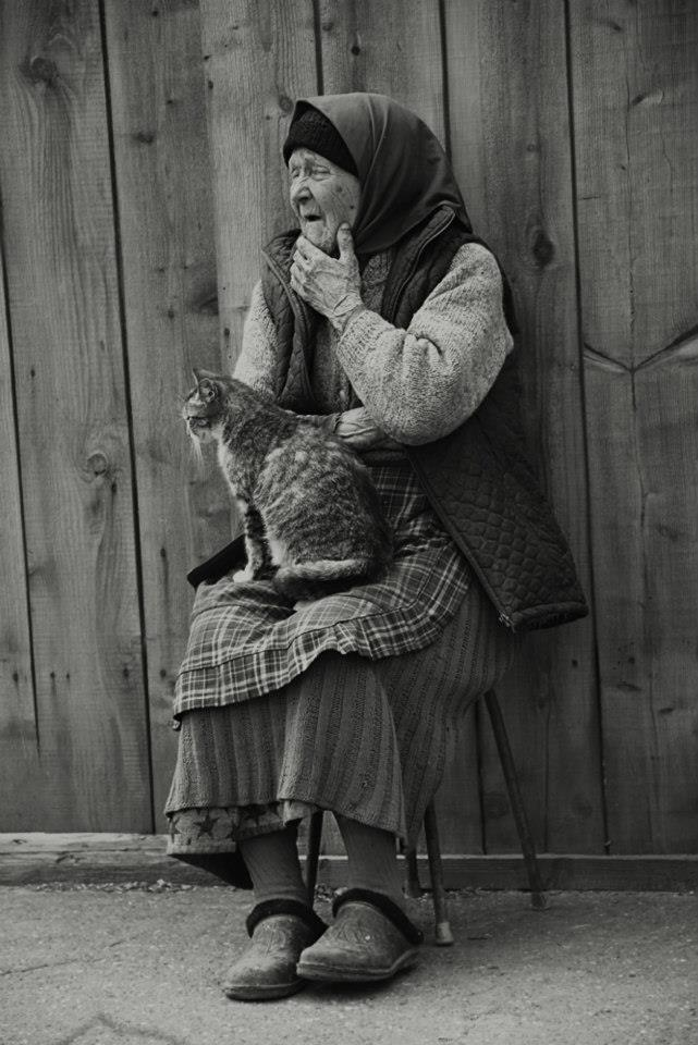 Village lady and cat