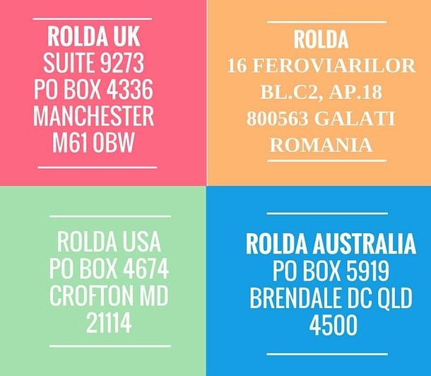 ROLDA international mail adddresses